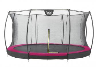 Trampolin EXIT Silhouette Ground mit Sicherheitsnetz Ø366cm Lime pink Bild 1
