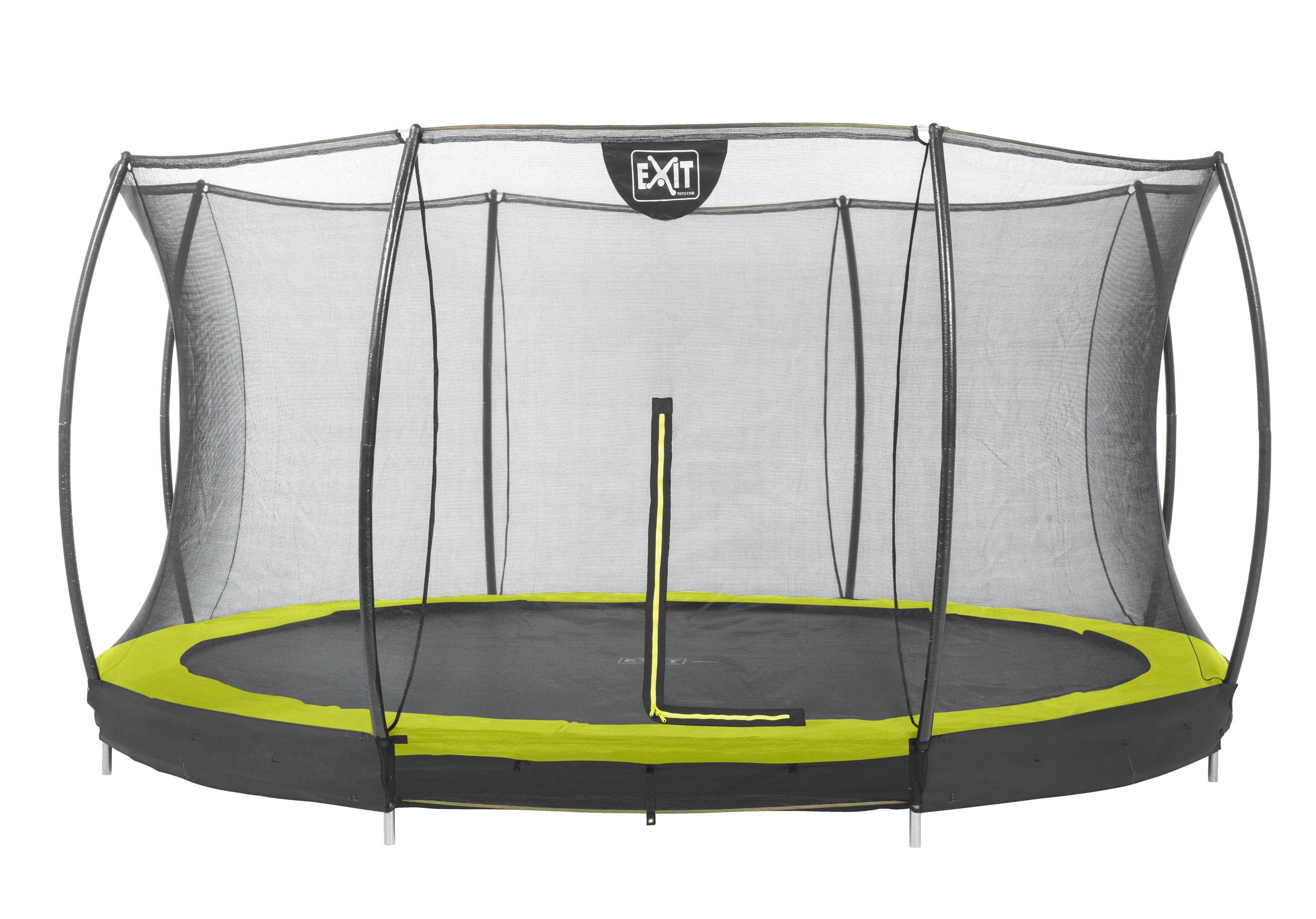 Trampolin EXIT Silhouette Ground mit Sicherheitsnetz Ø427cm Lime grün Bild 1