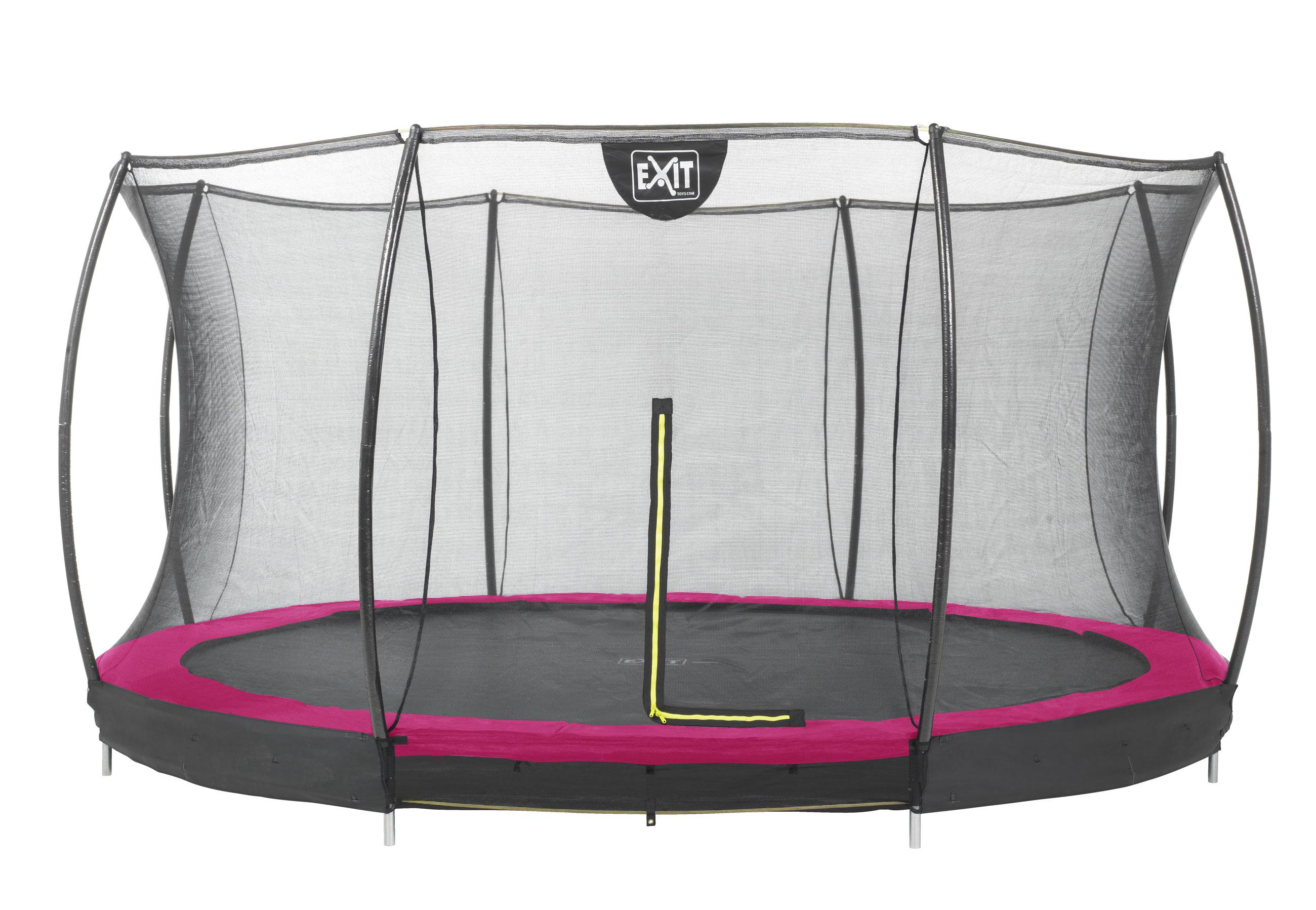 Trampolin EXIT Silhouette Ground mit Sicherheitsnetz Ø427cm pink Bild 1