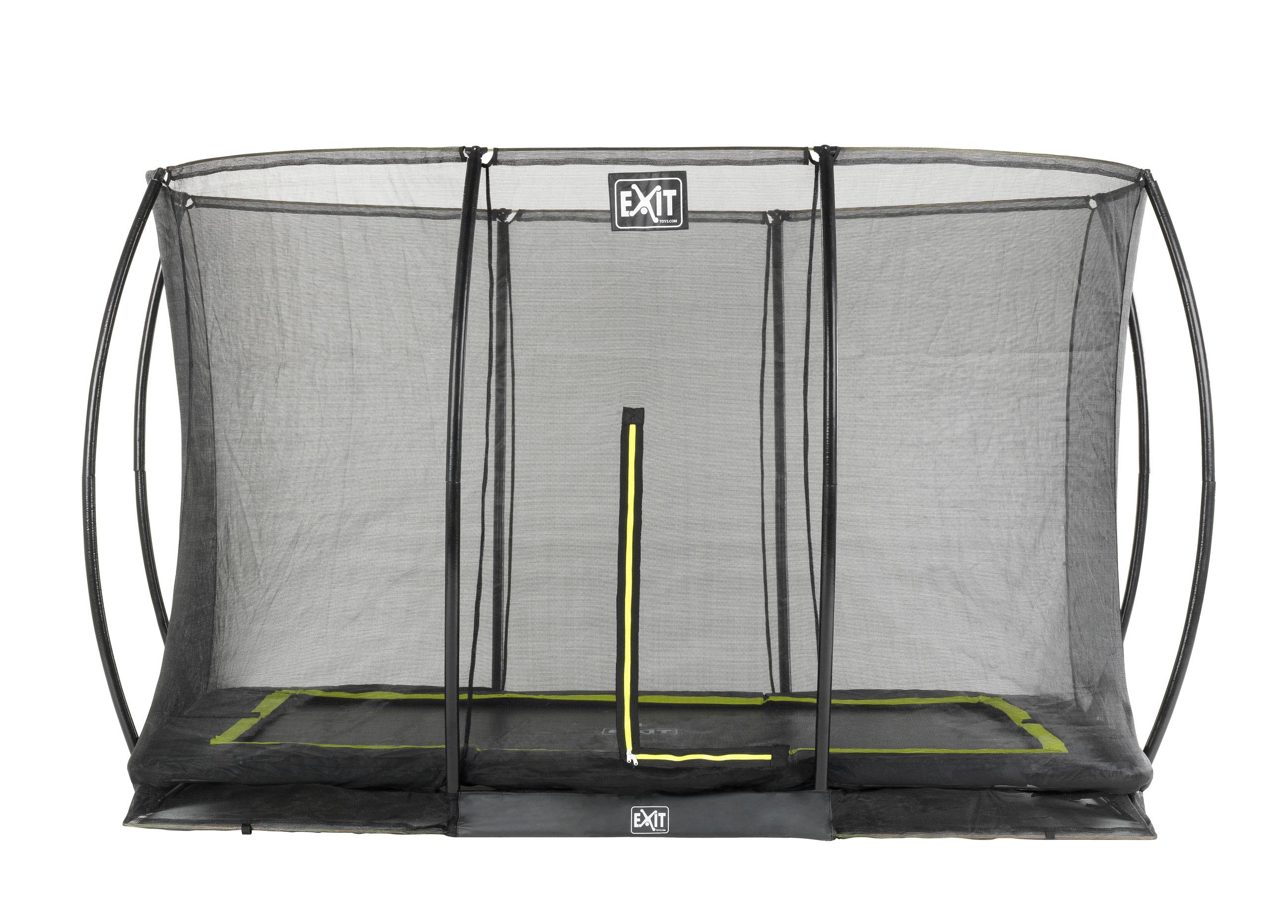 Trampolin EXIT Silhouette Ground mit Sicherheitsnetz 214x305cm schwarz Bild 1
