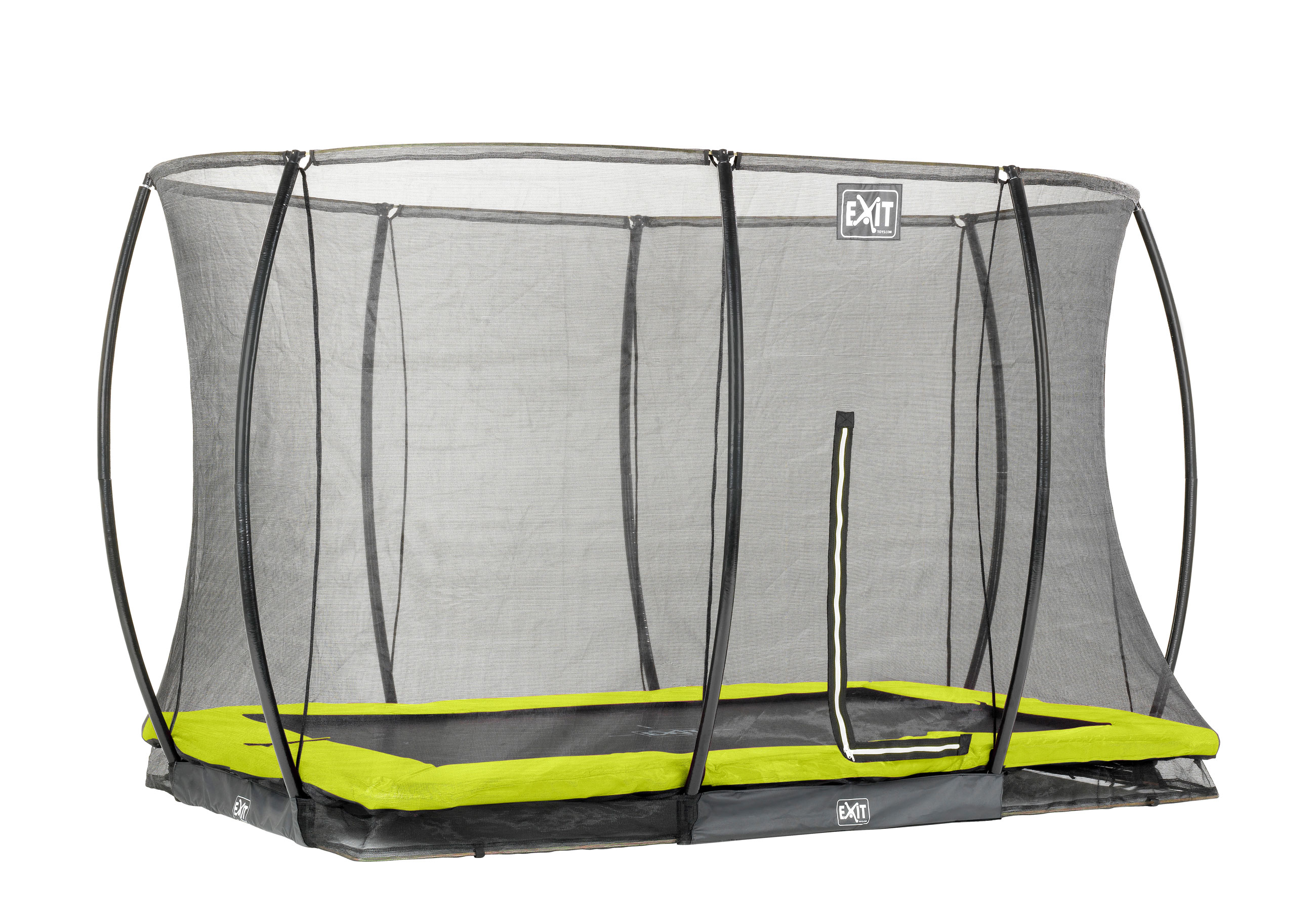 Trampolin EXIT Silhouette Ground mit Sicherheitsnetz 244x366cm grün Bild 1