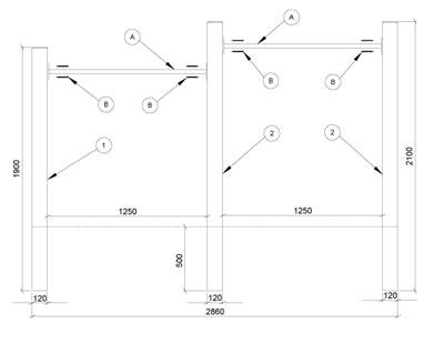Turnreck  / Kinderreck Doppelreck 286 x 190/210 cm Bild 2
