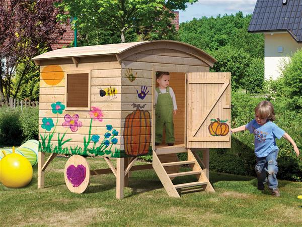 WoodFeeling Spielhaus / Kinderspielhaus Karibu Bauwagen natur 182x179x218cm